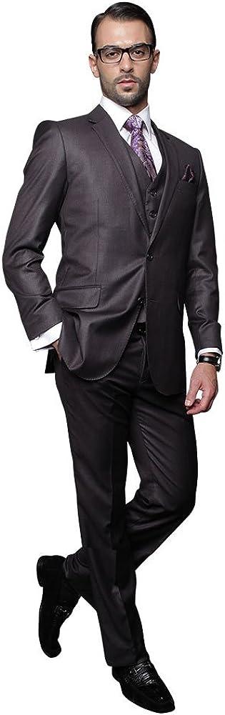 Statement 3 PC Men's Suit TZ-100 Italian Solid Color Super 150'S Wool Heather Charcoal