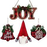 Charmed By Dragons Classic Rustic Farmhouse Decor Holiday Tree Ornaments 4 Buffalo Plaid Red Black Check Set in Gift Bag (Joy Plaid Set)