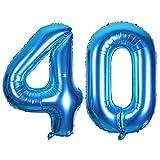 SMARCY Globos Número 40 Decoración de Cumpleaños 40 Años Fiesta de Cumpleaños (Azul)