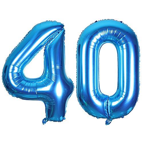 SMARCY Palloncini Gonfiabile Numero 40 Palloncini Compleanno 40 Anni Decorazioni Compleanno Blu