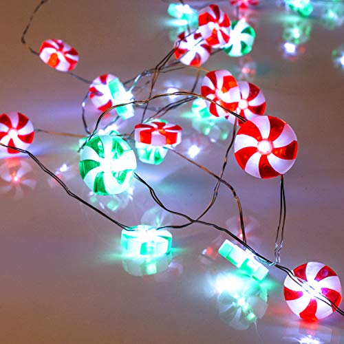 Christmas Candy Lights, Lauva 10 ft 40 LEDs Red and Green Sweets String Lights Battery Operated with 12 Mode Remote Timer for Indoor Outdoor Home Patio Porch Tree Holiday Wedding Party Decoration