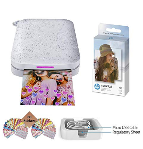 HP Sprocket Photo Printer, (2nd Edition) Print Social Media Photos on 2x3 Sticky-Backed Paper (White) + Photo Paper (50 Sheets) + USB Cable + 60 Decorative Stick-On Border Frames