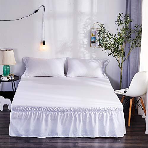 XuBa - Falda de cama elástica con volantes, color negro, 150 x 200 + 40