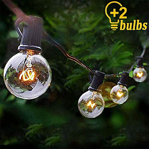 25Ft String Lights, G40 Outdoor String Lights Edison Light Bulbs Clear Globe String Lights with 27 Clear Bulbs UL Listed for Indoor & Outdoor Commercial Decoration- 5 Watt/E12 Candelabra Base