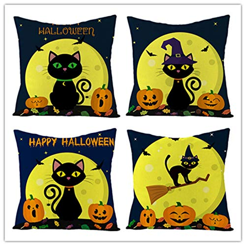 weilan1999 4Er Set Halloween Hugging Kissenbezug Kürbis Black Cat Unter Dem Mond Leinen Kissenbezug Sofa Kissen Taille Kissenbezug Home Decoration 18 * 18Inch