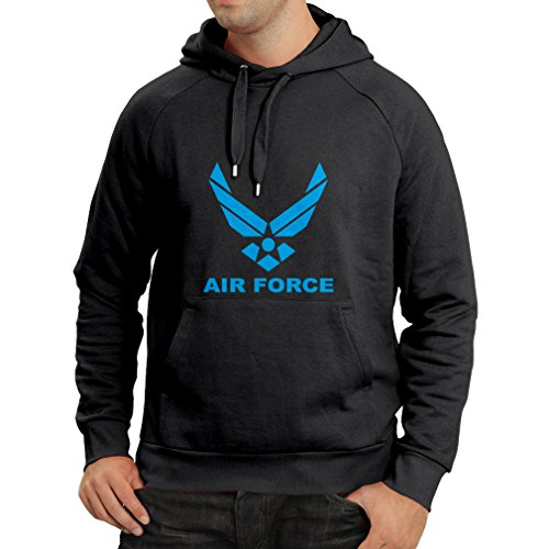 lepni.me Sudadera con Capucha United States Air Force (USAF) - U. S. Army, USA Armed Forces (X-Large Negro Azul)