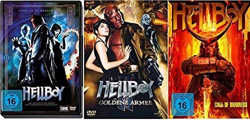 Hellboy 1+2+3 (1, Die goldene Armee, Call of Darkness) im Set - Deutsche Originalware [3 DVDs]