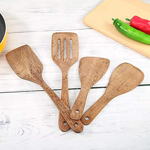 Zent Espátula Cuadrada de Madera Cuchara Cuchara de Aceite de bambú Caoba Pala Antiadherente Pala de Mano Espátula Cocina Herramientas de Cocina, D