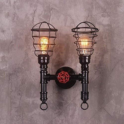 Double Head Metal Wire Cage Muur Lamp Industrial Retro Waterpijp wandlamp Vintage Steampunk Paint Ouderwetse Muur Lantern Sconce Bracket Light Wall Lights