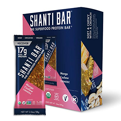 SHANTI BAR Plant Protein + Immunity Superfoods, Whole Foods | Vegan, Paleo, Certified Organic, Gluten Free, Raw Healthy Snack, Low Glycemic, No Refined Sugars | Turmeric Mango Cashew | 12 Count