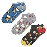 soxo Herren 3 Paar Bunte Sneaker Socken   Größe 40-45   Witzige Motivsocken aus Baumwolle (Bier, Eier & Speck, Burger & Pommes)