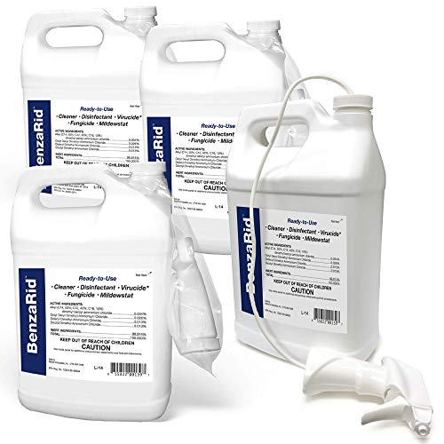 BenzaRid Professional Disinfectant (4) Gallon Set | Medical Grade Sanitizer & Virucide | Kills Black Mold, MRSA, Staph, Mites, H1N1, H5N1 Viruses, and Blood Born Pathogens | Antibacterial, Fungicide, and used for Water Damage