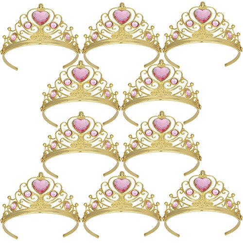 Tiaras and Crowns for Little Girls Crowns and Tiaras for Child from 3 Years Up Party Favors Pink Tiara Plastic Gold Tiara(10 Pack)
