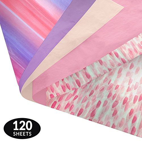 Note Card Cafe Premium Tissue Paper Set | 120 Gift Wrapping Sheets | 14 x 20 in | Pink and Purple Watercolor Designs | for Arts, Crafts, Gifts, DIY, Birthdays, Weddings, Showers, Decor, Packing