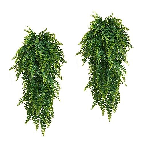 2pcs Farn Künstlich Kunstpflanzen für Drinnen und Draußen, Hängend