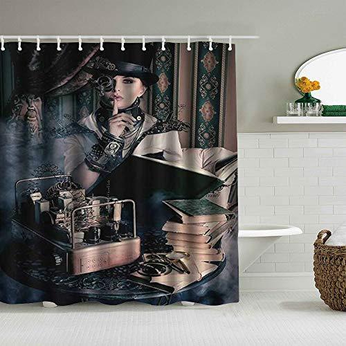 Cortina de baño repelente al agua,Retrato gótico de ángeles de mujer Steampunk con traje de estilo vintage medieval Foto de arte de moda histórica,cortinas de baño con 12 ganchos,tamaño 180 x 210cm