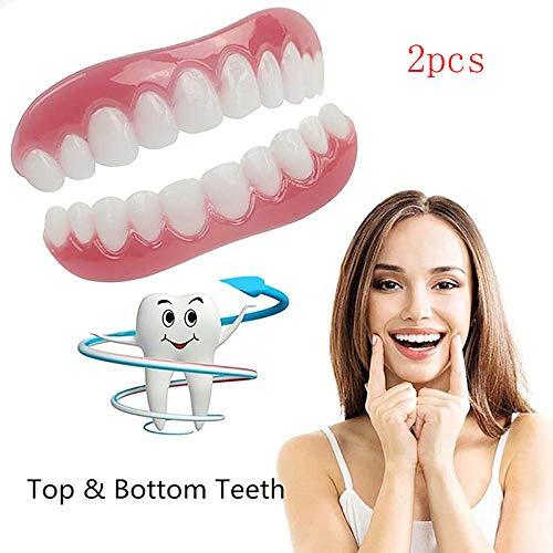 2PCS bovenste en onderste witter maken van tanden Sets, Silicone kunsttanden, Whitening tandpasta Smile kunstgebit