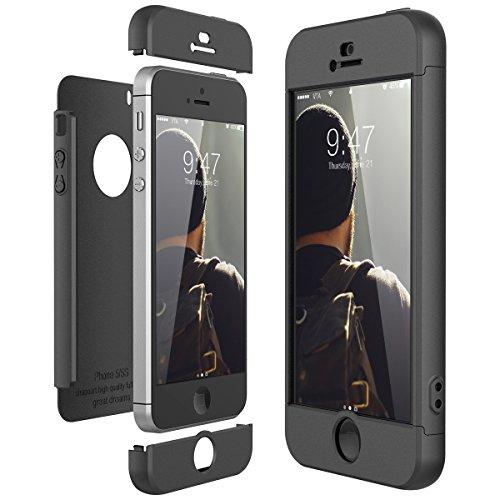 CE-Link Cover per Apple iPhone 5 5S Se 360 Gradi Full Body Protezione, Custodia iPhone 5S Silicone 3 in 1 Antishock e Antiurto, iPhone Se Case - Nero