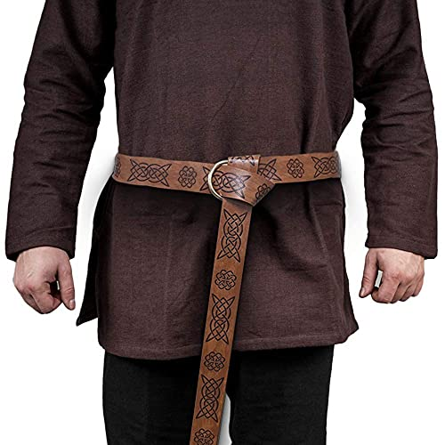 Leather Belt Medieval Embossed Belt Knight Ring Belt Viking Jewelry for Men Renaissance Cosplay LARP Accessory