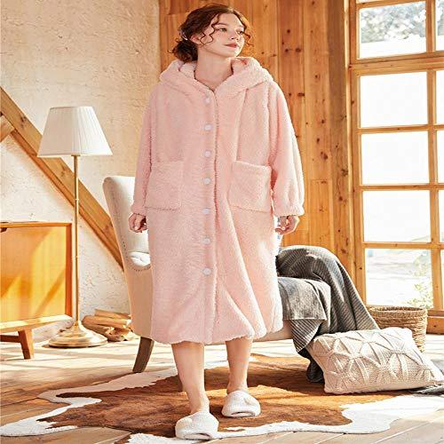 STJDM Bata de Noche,Invierno Mujer Ropa de Dormir Bata de Franela Pijamas con Capucha Albornoz Caliente Bola de Pelo Batas para Dormir Camisón Bata Loungewear S Rosa