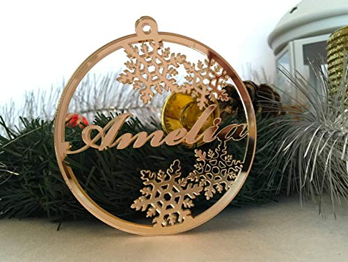 Personalized Christmas Ornament Laser Cut Bauble Custom Name Baubles Babys First Christmas Xmas Gifts for Family Gold Silver Acrylic Wooden Tree Decorations Snowflake Hanging Ornaments Tags Home Decor