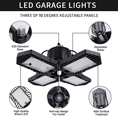 2 Pack LED Garage Lights,80W Deformable Led Garage Ceiling Lighting 8000LM E26 Daylight 6000K LED Garage Lighting Super Bright Adjustable Garage Light for Garage,Warehouse 6