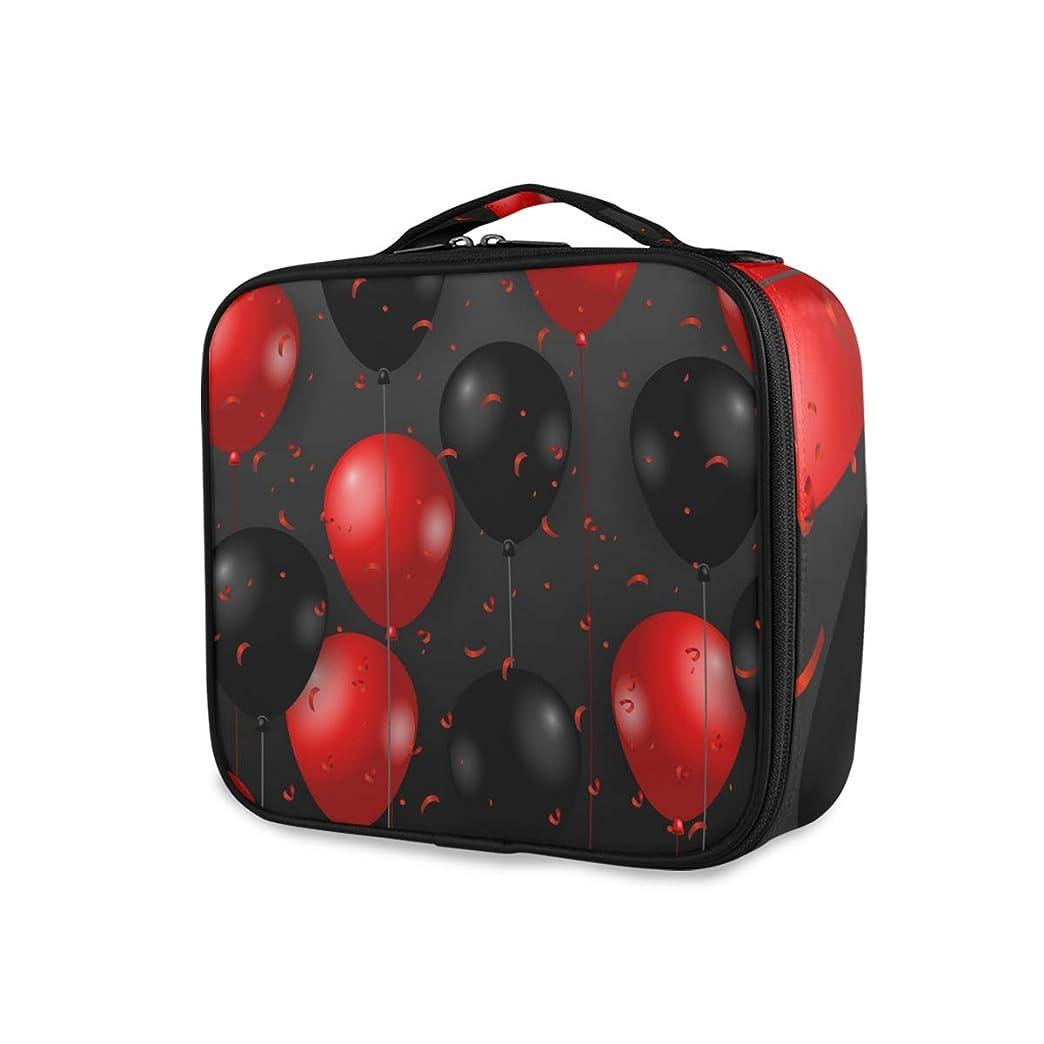 冒険穏やかな校長メイクボックス 風船 赤い 大容量 収納 仕切り付き 収納ケース 機能性 小物入れ 旅行 通勤 化粧道具 高品質 メイク収納 整理 持ち運び