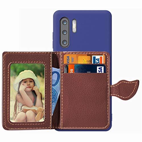 Baobao Leaf Buckle Litchi Texture Card Holder PU + TPU Funda for Huawei P30 Pro, con Ranura for Tarjeta y Billetera y Soporte y Marco de Fotos (Color : Blue)