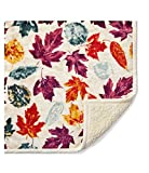 Better Homes & Garden Sherpa Throw Blankets 50' X 60',Maroon Leaves