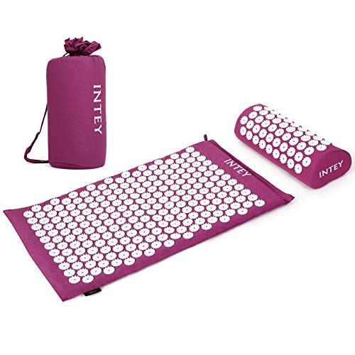 INTTEY Acupressure Mat and Pillow Massage Set Ideal for Back/Neck Pain Relief & Muscle Relaxation, Sleep Aid with Carrying Bags