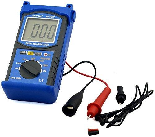 HoldPeak Isolationsmesser Isolationsmessgerät Isolationswiderstand bis 2500V, Robust mit extragroßem Display, Blau/Grau