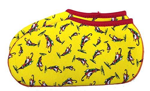 TippTexx 24 Stiefelsocken, 1 oder 2 Paar, Gummistiefelsocken mit Nässeschutz und ANTI-LOCH-GARANTIE für Damen, Herren u. Kinder (21-22, Gelb-Regenschirm - 1Paar)