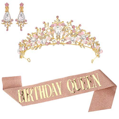 Popuppe Geburtstag Schärpe + Geburtstag Krone + Strass Ohrringe für Mädchen Frauen, Rose Gold Geburtstag Dekoration für Geburtstag Party