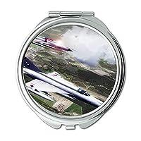 軍用航空機写真、ミラー、トラベルミラー、ストリートファイターフィギュア、ポケットミラー、ポータブルミラー