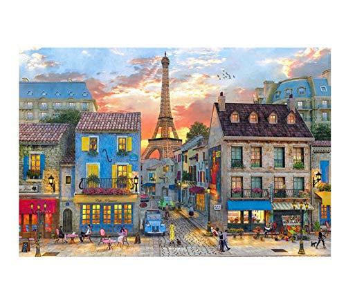 YKCKSD Paris Street The Puzzle de Madera 1000 Piezas Rompecabezas Juguetes educativos para niños Adultos