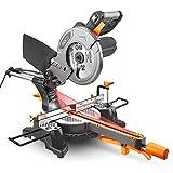 TACKLIFE 卓上丸ノコ 4500RPM レーザーガイド 左右45 付属24Pチップソ 集じんバック スライド機能 PMS01X