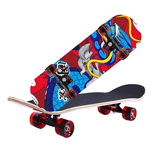 Patinete de cuatro ruedas para adultos, patineta deportiva de arce inclinado doble, madera de arce de 7 capas para exteriores, para adolescentes, principiantes, profesionales, niñas, niños, adultos