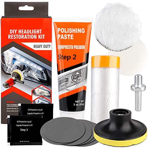 belupai - Kit de restauración de faros delanteros, para lentes mate, apto para todos los coches, bicicletas o motocicletas
