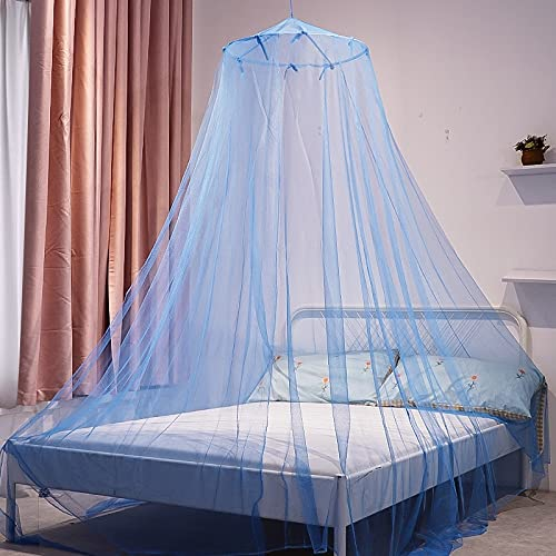 Portable Mosquito Net Outdoor Tent Folding Bed Canopy Bed Curtain Repellent Tent Insect Circular Mosquito Net for Home Indoor Outdoor (Color : Blue, Size : 1.5m bed)