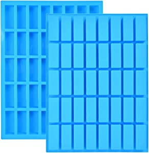 BUYGOO 2 Pack 40 Cavity Narrow Rectangle Silicone Caramel Candy Molds Chocolate Bar Mold for Truffles, Ganache, Jelly, Praline, Brownie, Butter, Ice Cube Tray