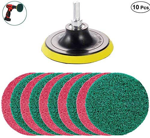 Kagni Scheuerschwamm Reinigung Kit, 10 Stück Scrub Pads 4 Zoll Bohrmaschine Bürstenaufsatz Drill Brush Kit Power Scrubbing Auto Bürste für Teppich, Badezimmer, Waschküche,Küche