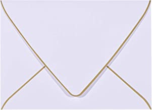 A7 White Envelopes 5 x 7 With Gold Border,- 50 Pack,For 5x7 Cards| Quick Self Seal| Perfect for Weddings, Invitations, Pho...