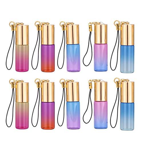 Beaupretty 10 unidades de 5 ml de aceites esenciales, con llavero, mini botellas de cristal para viajes, perfumes, botellas de viaje para aromaterapia.