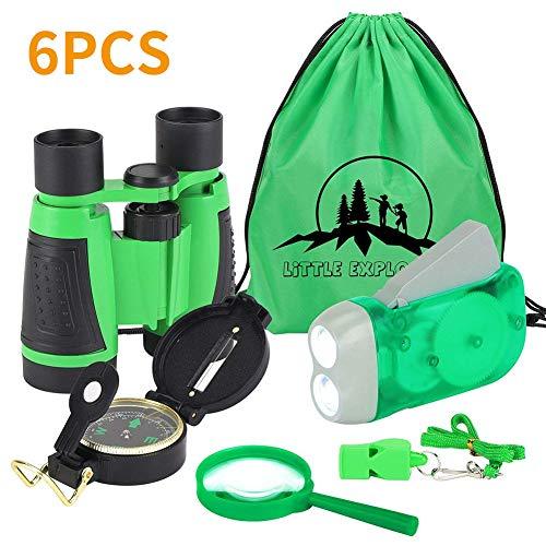 VGEBY les enfants kit de jeu avec binocular manivelle lampe de poche, boussole, loupe jouet kit pour camping et randonnée vert (lot de 6)