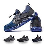 Zapatos de Seguridad Hombre Mujer Trabajo Ligeras Calzado de Seguridad Deportivo Comodo con Punta de Acero A Azul 42 EU