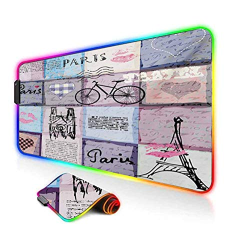 RGB Gaming Mouse Pad,Grunge Textured Retro Collage of Paris with Famous Object Eiffel Tower Europe Theme Soft Computer Keyboard Mouse Pad,35.6'x15.7',for Game Players,Office,Study Multicolor