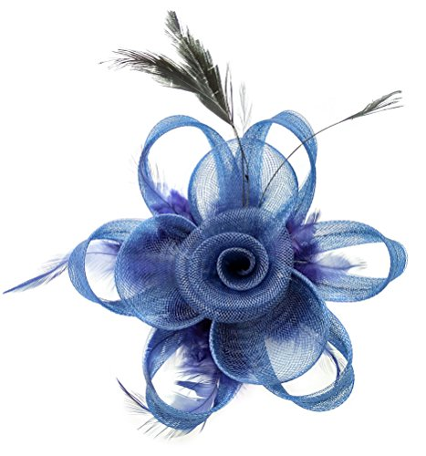 Ahugehome Fascinator Hair Clip Women Flower Feather Headband Pillbox Hat Tea Party (A Navy Blue)