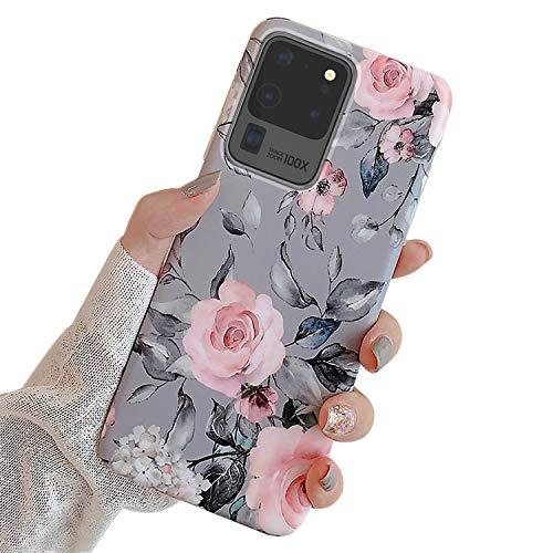 Ownest Kompatibel mit Samsung Galaxy S20 Ultra Hülle Hülle mit Purple Floral & Blätter für Mädchen Frauen-Blätter mit Blumen-Muster Elegantes Weiches TPU für Samsung S20 Ultra-Rosa Blumen