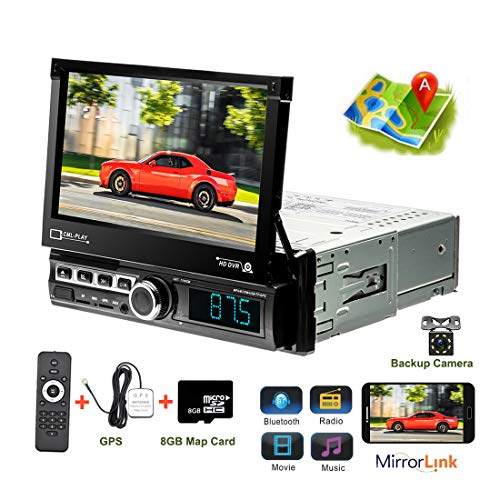 "Car Stereo Single Din Car Radio in Dash GPS Navigation 7"" Touch Screen Head Unit Support Bluetooth Audio Calling, Car MP5 Player, FM/USB/TF/AUX-in, Mirror Link, Remote Control+Rear View Camera"