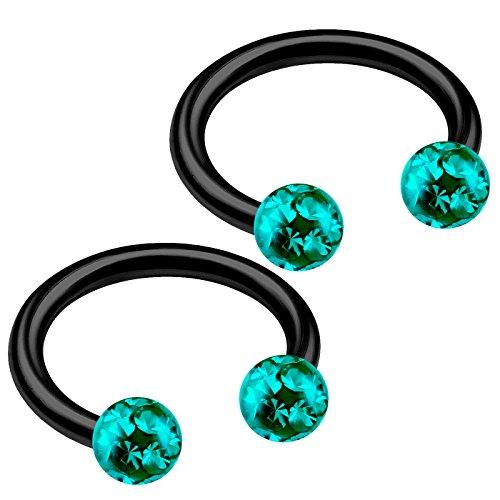 2pcs 16g Barbell Horseshoe Earrings Lip Black Titanium G23 Cartilage Septum Ear Tragus Ring Eyebrow Snake Bite B2ICX